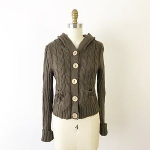 Modcloth Brown Cable Knit Hooded Cardigan Sweater